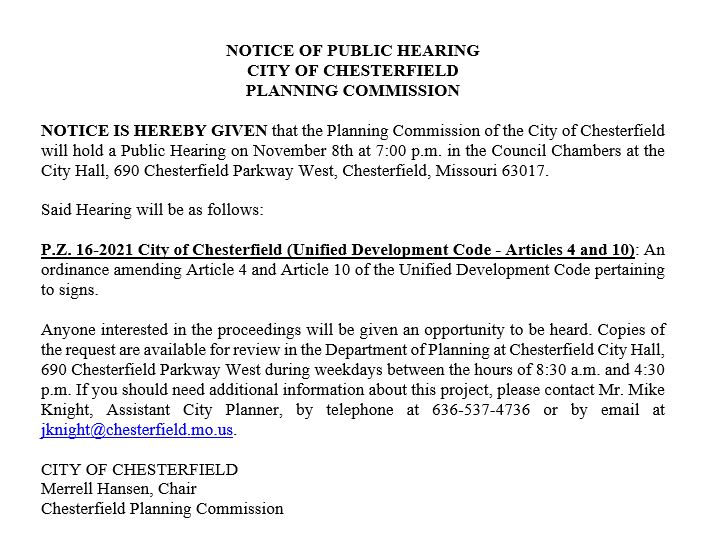 PZ 16-2021 City of Chesterfield (UDC -Articles 4 & 10)